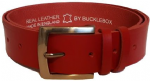 "38mm Bucklebox Red Leather Belt with Detachable Buckle 1½"" wide"